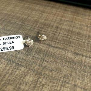 Sterling Silver Heart Diamond Earring